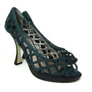 Gabriella Rocha teal woven retro platform heels